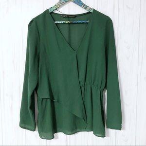 Zara Green V Neck Flowy Blouse Size Large